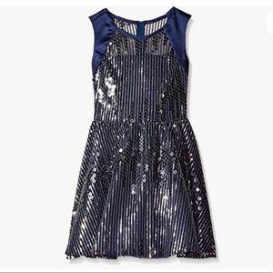 Rare Editions girls sequin navy blue silver dress
